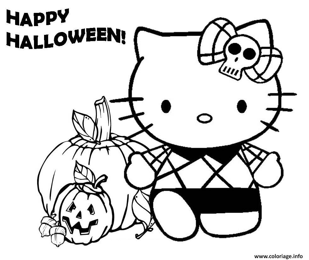 Dessin joyeuse halloween hello kitty Coloriage Gratuit à Imprimer