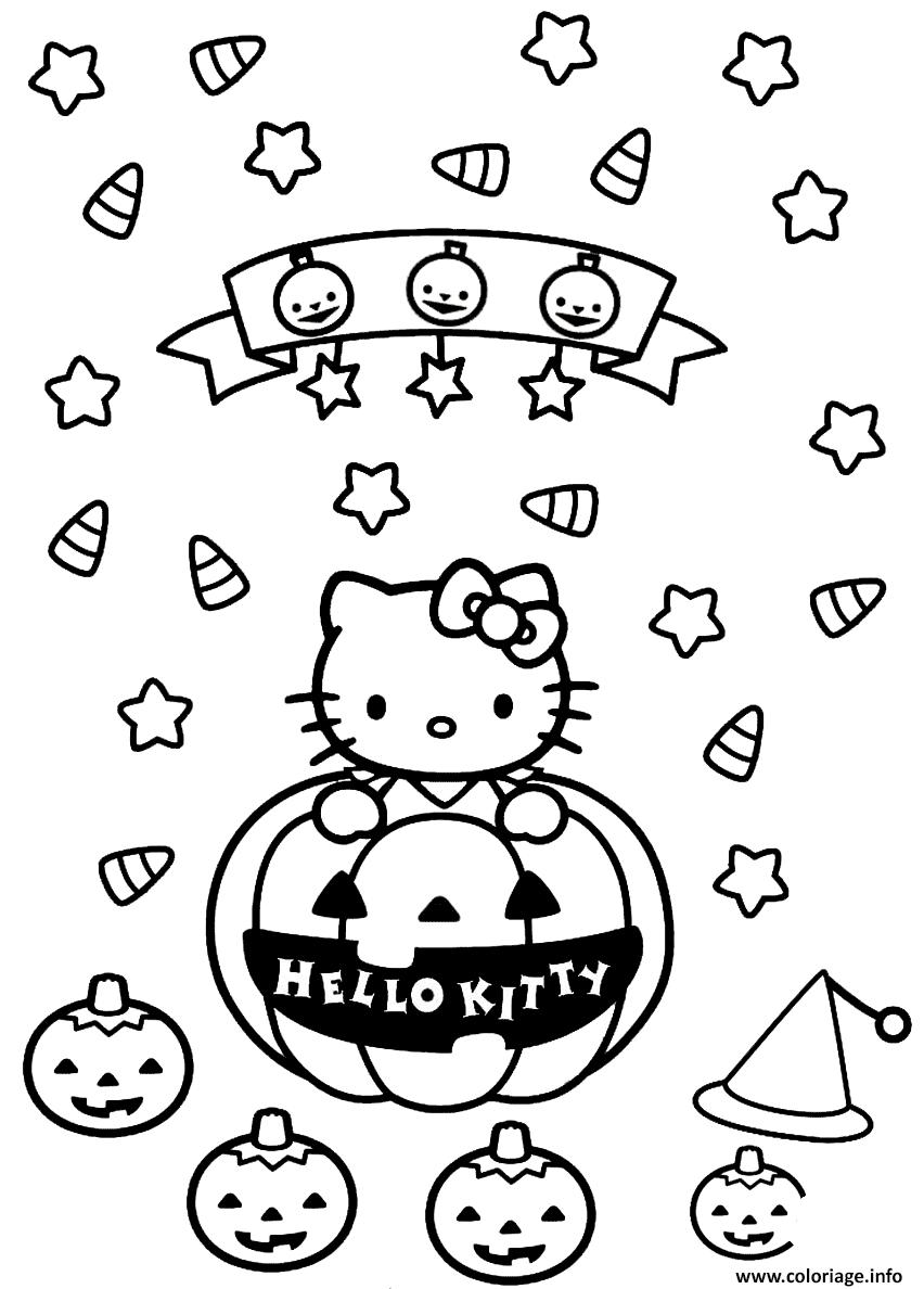 Dessin hello kitty halloween citrouilles Coloriage Gratuit à Imprimer