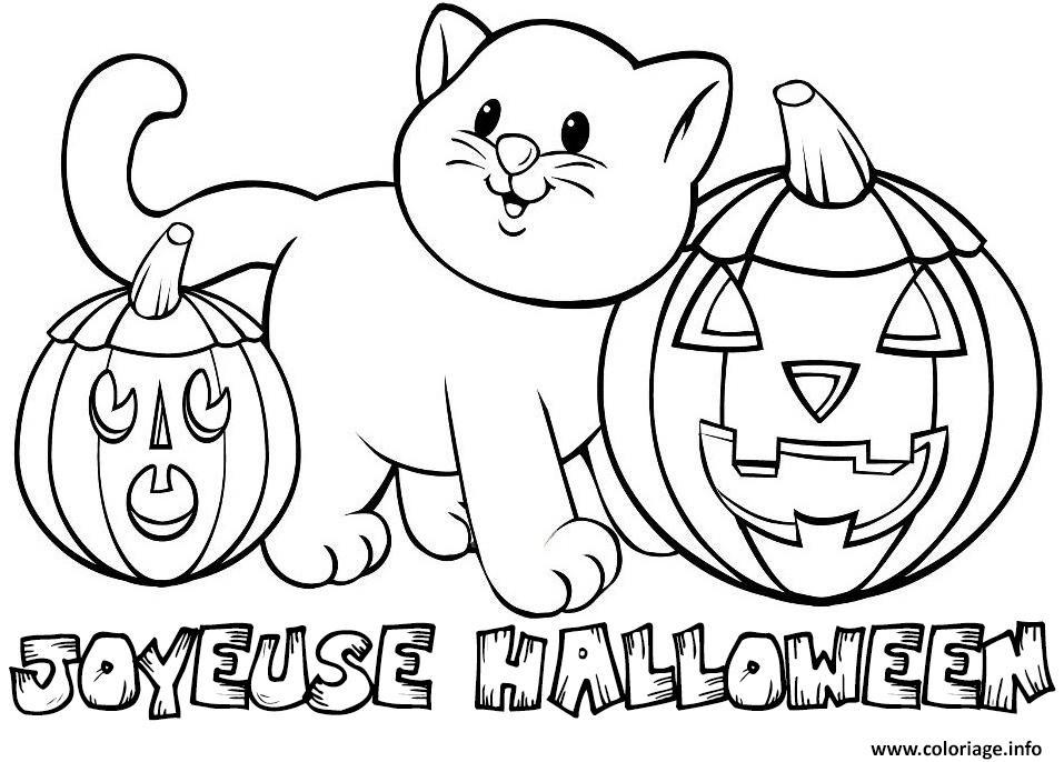 Dessin Joyeux Halloween.Coloriage Joyeuse Halloween Chat Citrouille 2018 Dessin Halloween A Imprimer
