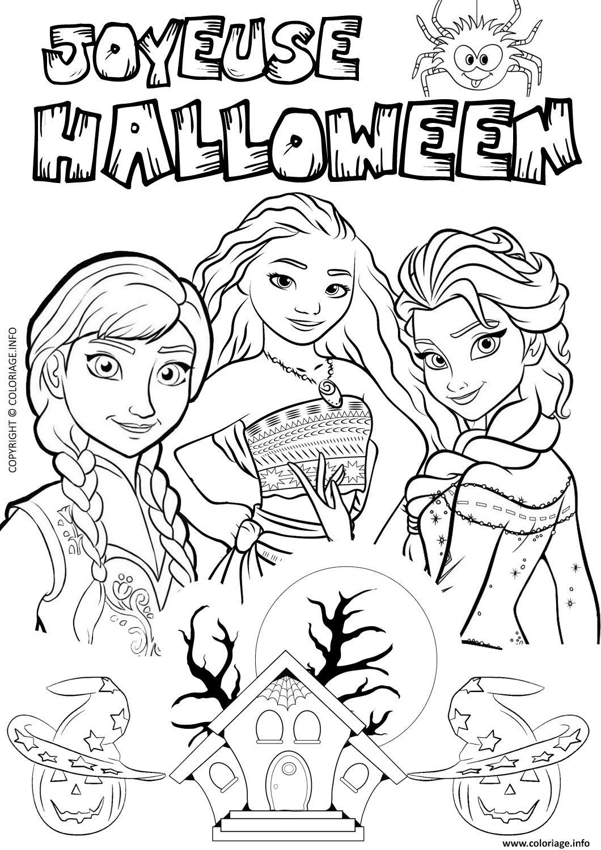 Coloriage Halloween Reine Des Neiges Elsa Vaiana dessin