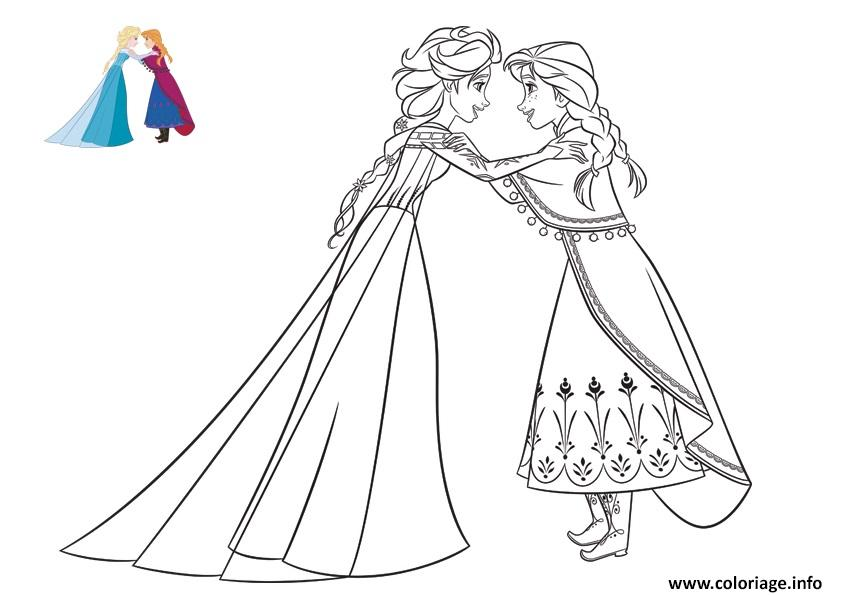 Coloriage anna confie un secret a elsa reine des neiges dessin - Elsa coloriage ...