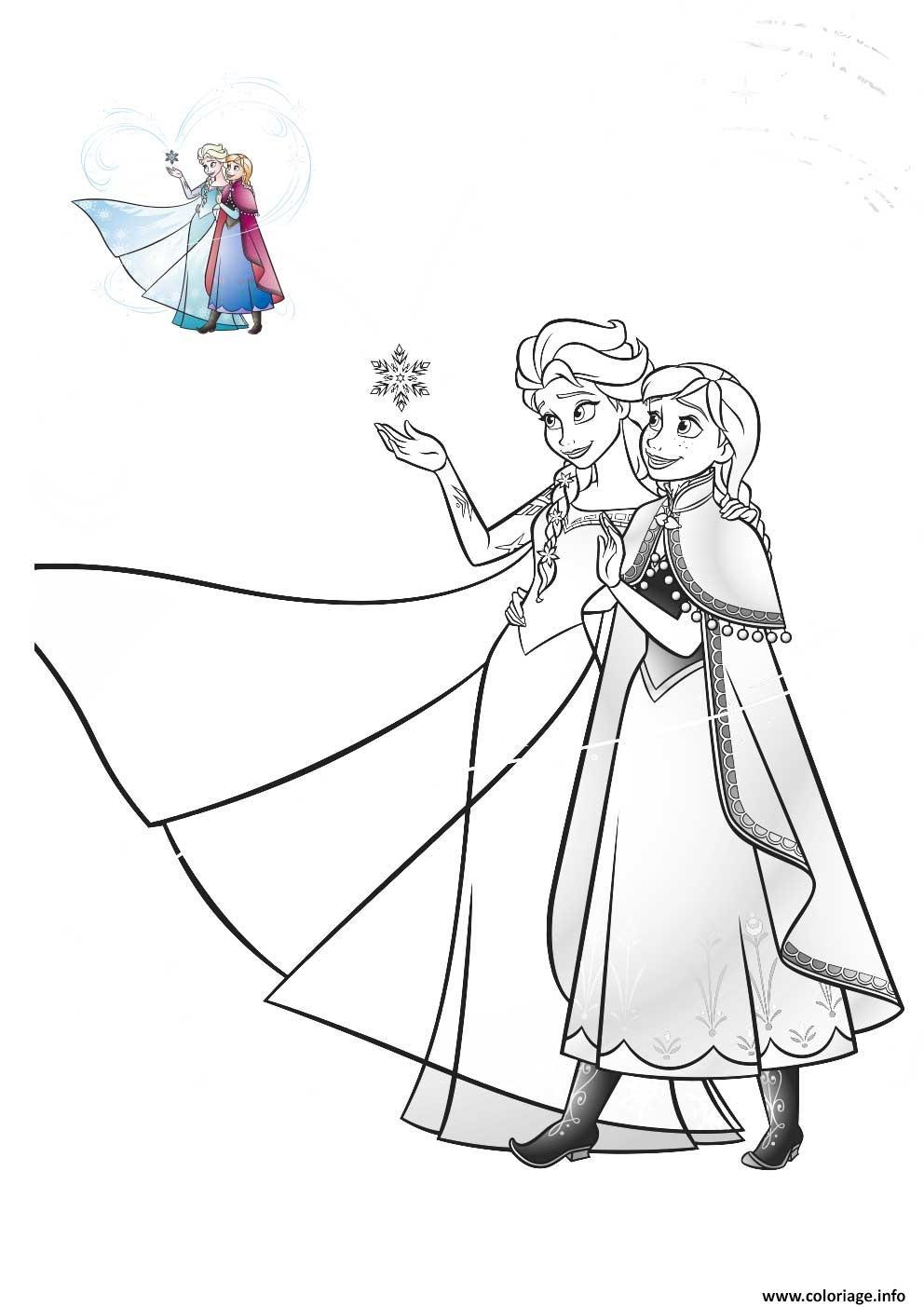 Dessin elsa et anna amour famille reine des neiges Coloriage Gratuit à Imprimer
