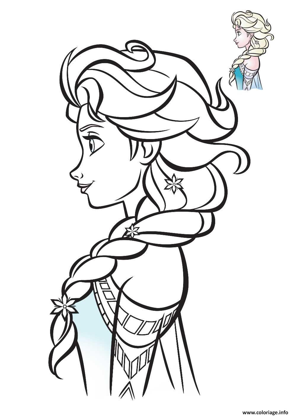 elsa reine des neiges de profil 2018 coloriage