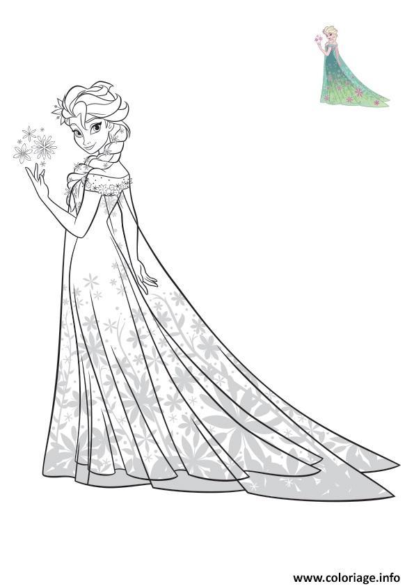 Coloriage Robe De Princesse A Imprimer.Coloriage Elsa Reine Des Neiges Robe Exotique Disney Dessin