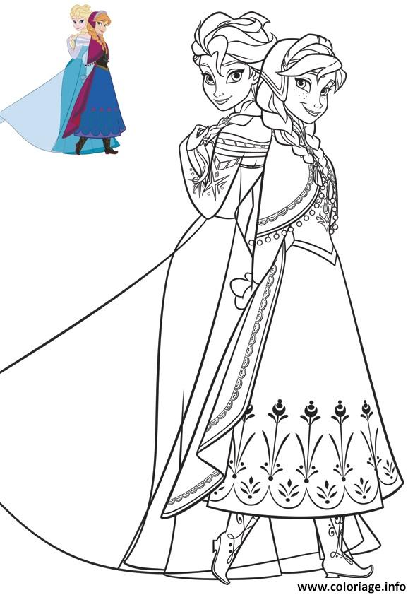 Dessin anna et elsa en superbe robes reine de neiges Coloriage Gratuit à Imprimer