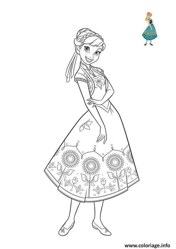 Dessin anna porte une splendide robe verte pour lete Coloriage Gratuit à Imprimer