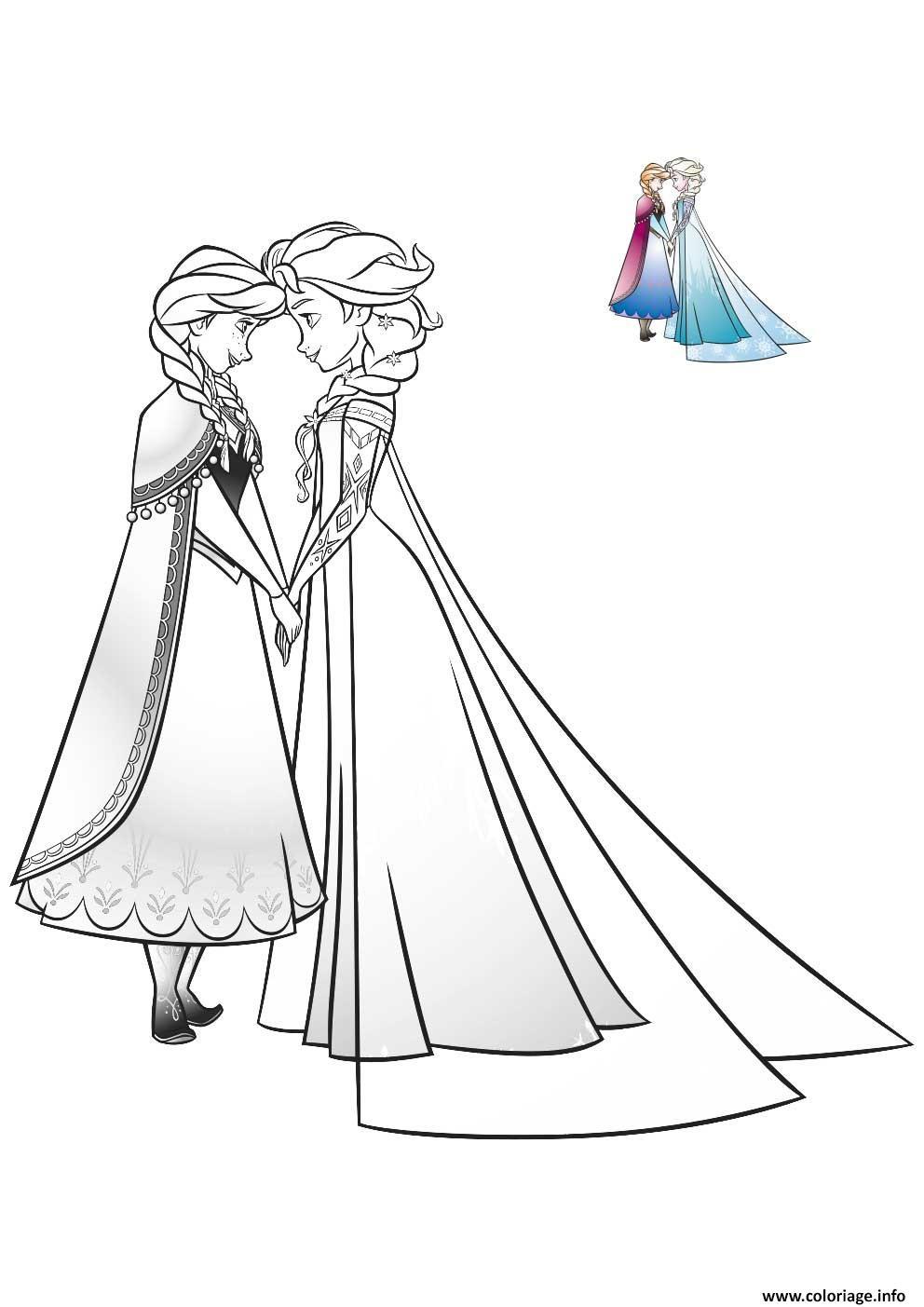 Coloriage Elsa Et Anna Les Meilleures Amies Bff Dessin La Reine Des Neiges A Imprimer
