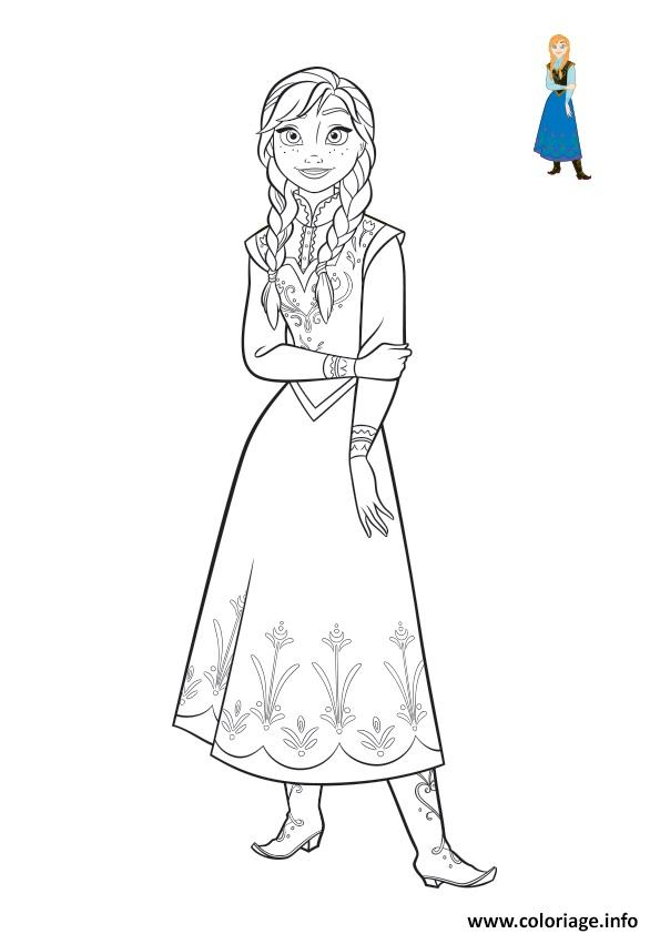 Coloriage la belle anna simple et belle frozen 2018 dessin - Coloriage de frozen ...