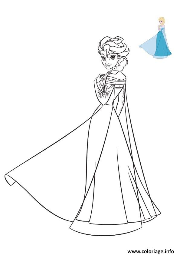 Coloriage la belle robe bleue de elsa reine des neiges - Dessins reine des neiges ...