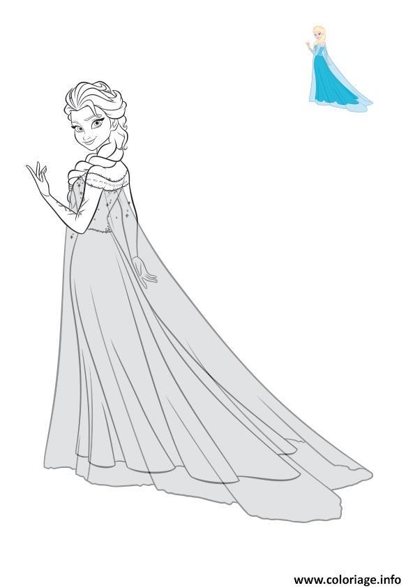 Dessin sublime elsa en robe de bal Coloriage Gratuit à Imprimer