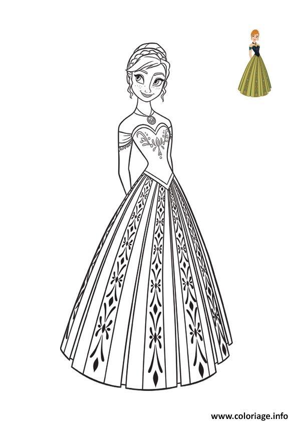Coloriage Superbe Robe Pour Le Bal Reine Des Neiges