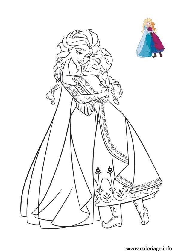 Coloriage un calin entre soeurs elsa anna reine des neiges dessin - Coloriage en ligne la reine des neiges ...