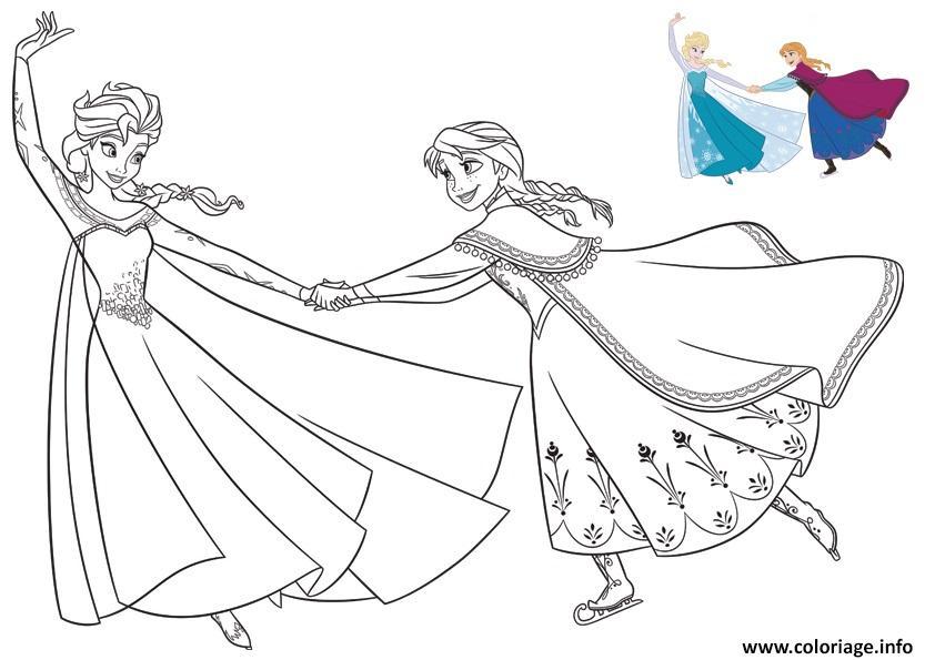 coloriage elsa et anna patinent et ont du plaisir reine des neiges dessin imprimer - Dessin Elsa