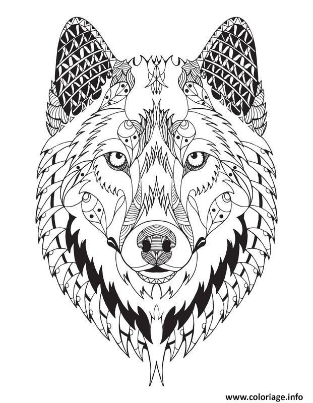 Super Coloriage Magnifique Loup Mandala Animal Adulte dessin FW96