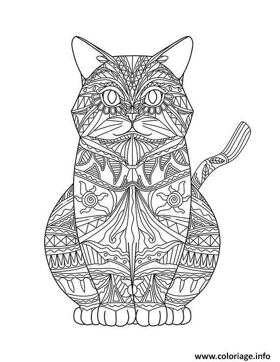 Coloriage Chat Mandala Detaille Adulte dessin