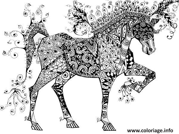 Coloriage Cheval Zentangle Circus Horse Jani Freimann Jecolorie Com