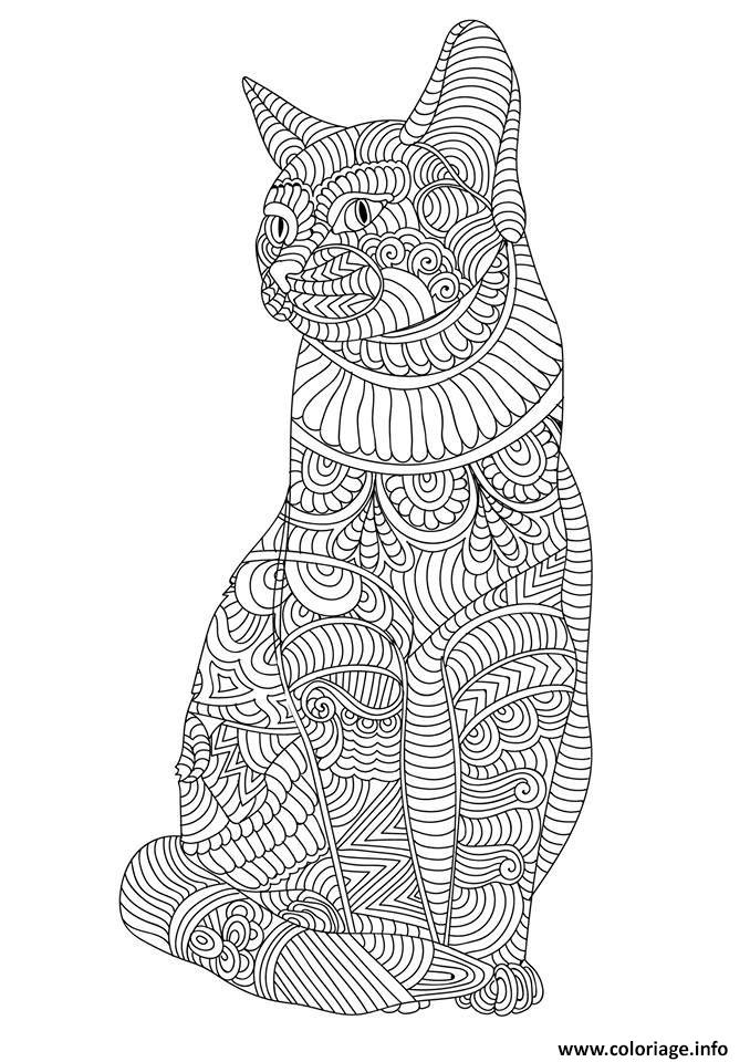 Coloriage chat mandala adulte cute dessin - Coloriage de chat ...