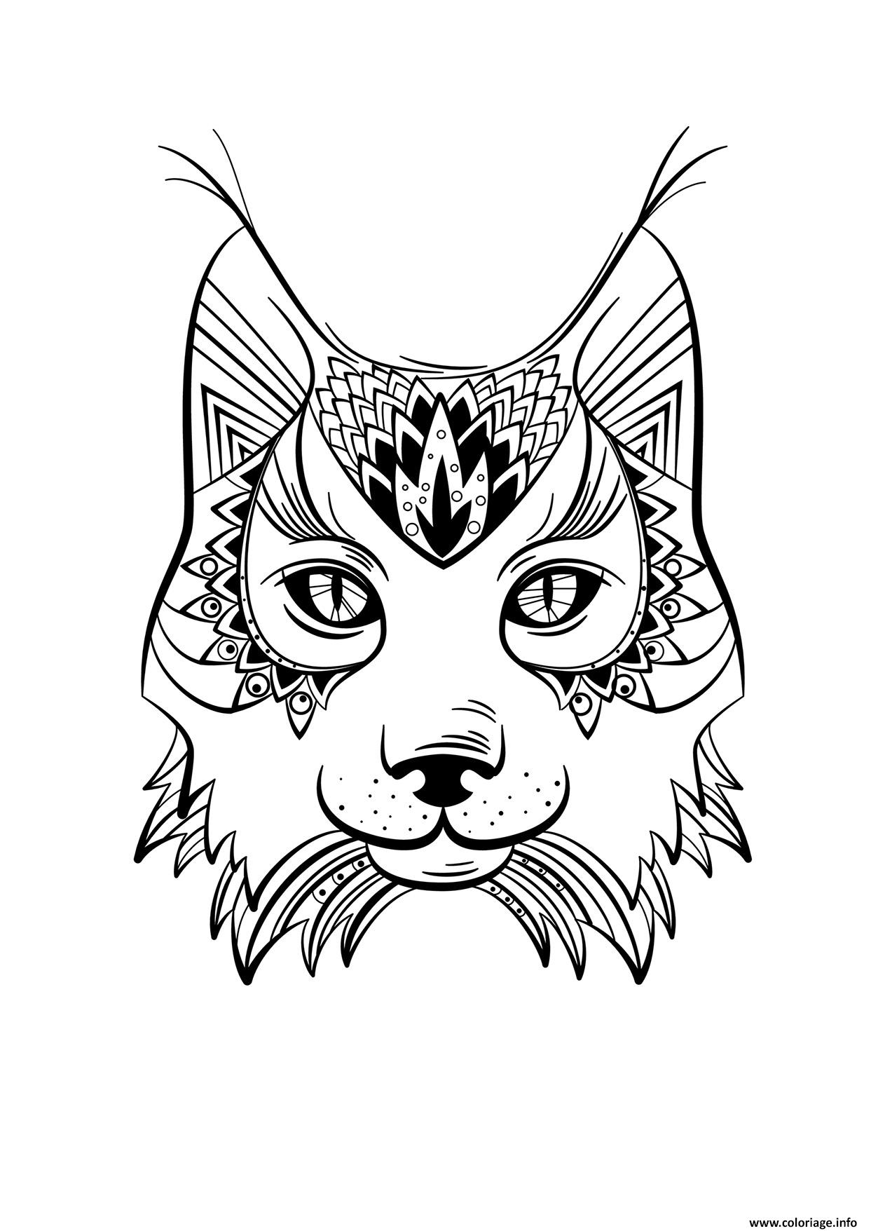 Coloriage lynx animal adulte mandala - Photo animaux a imprimer ...
