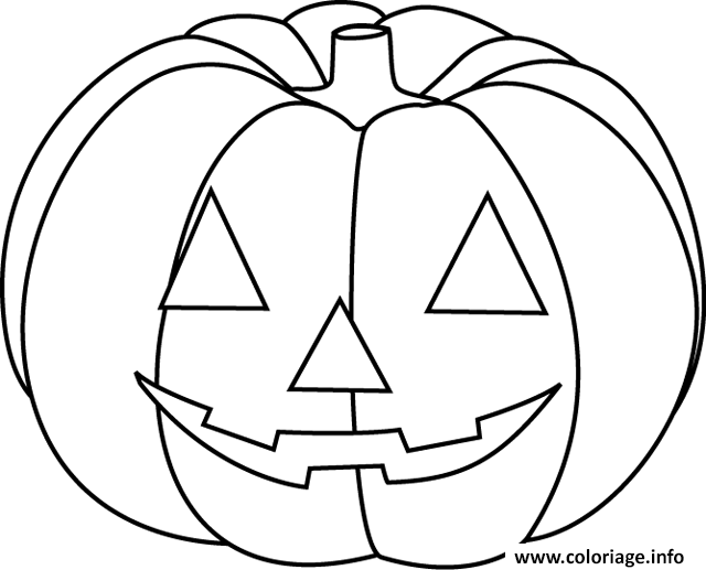Coloriage citrouille halloween facile simple enfant - Image de citrouille ...