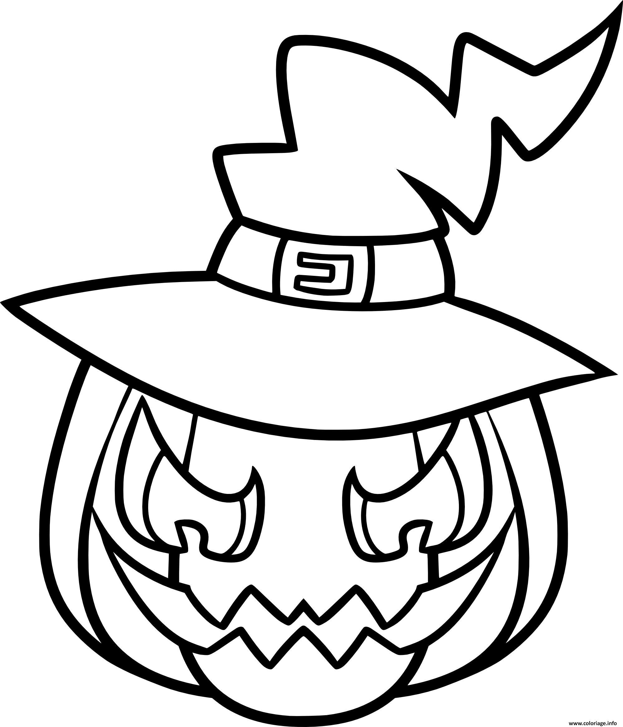 Coloriage Citrouille Effrayante Sorciere Halloween Dessin