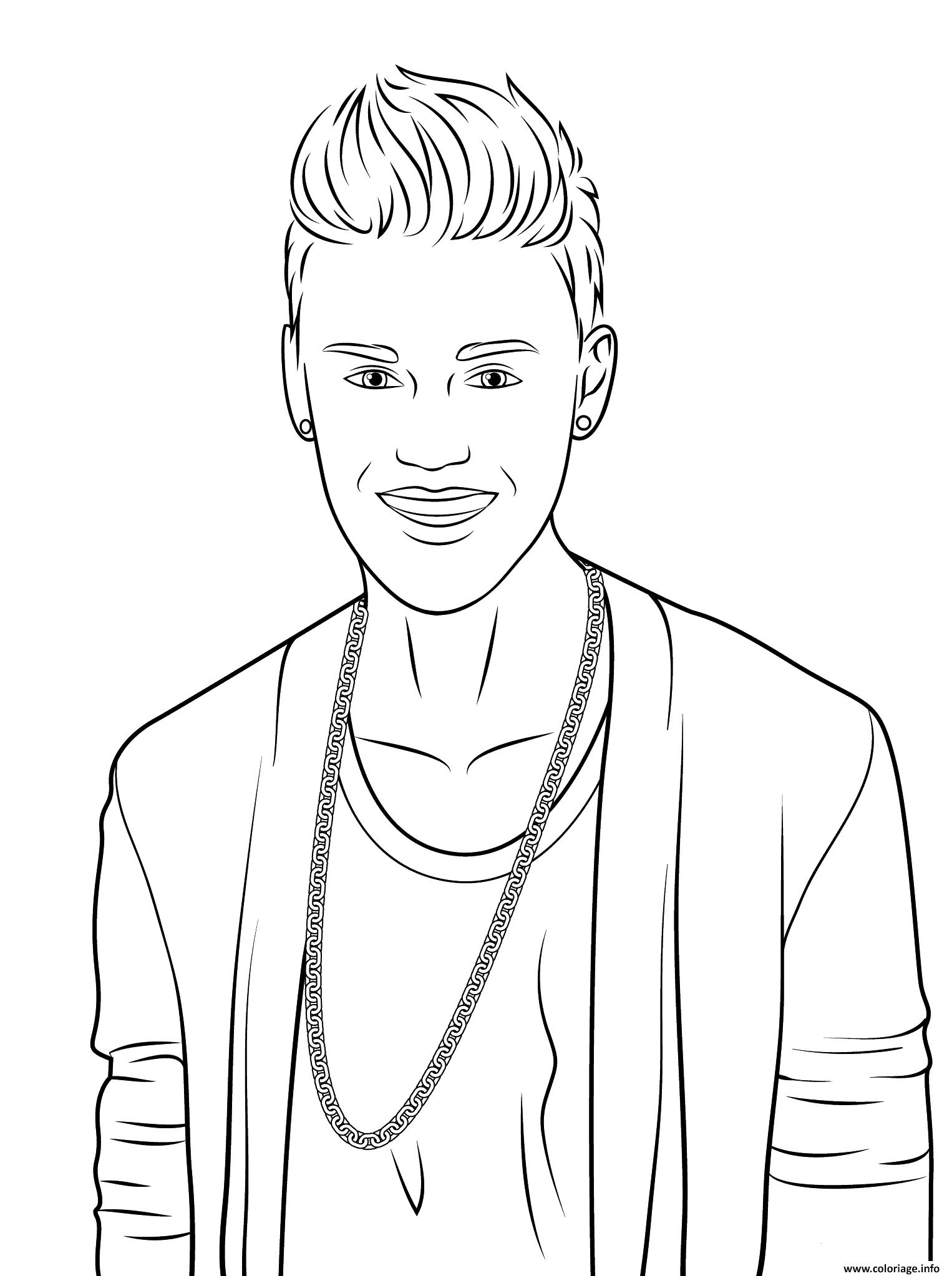 Coloriage justin bieber celebrite star for Justin bieber coloring pages