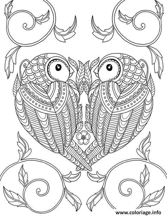 Dessin animaux adulte deux oiseaux Coloriage Gratuit à Imprimer