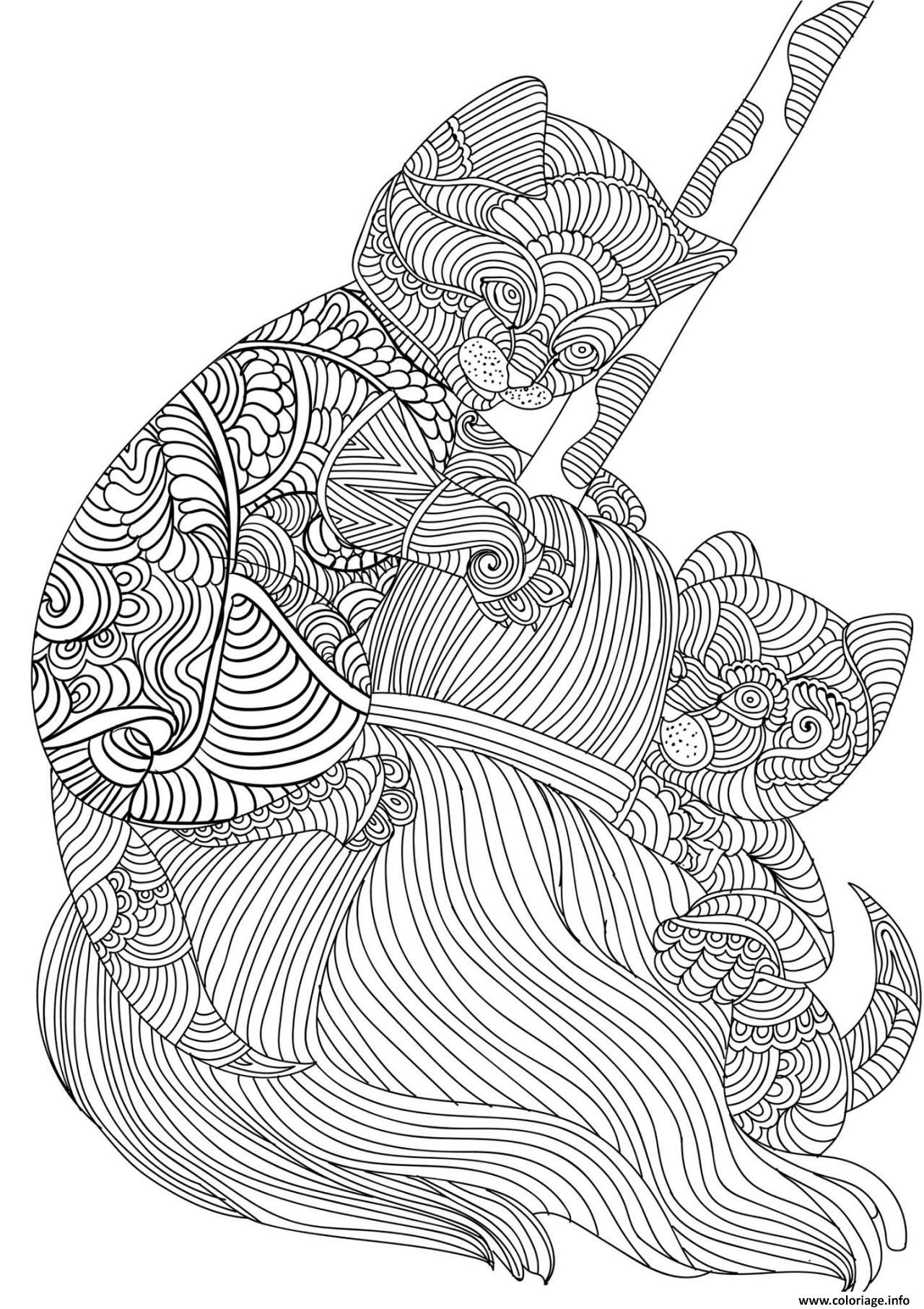Coloriage Chat Et Chaton Adulte Animaux Zen Dessin
