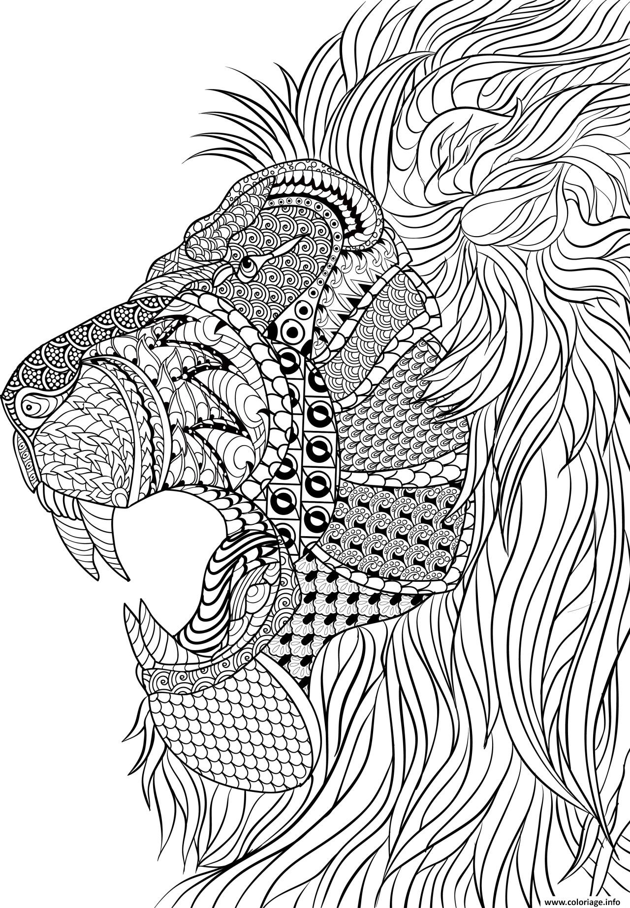 Coloriage lion adulte anti stress dessin - Coloriage anti stress gratuit ...