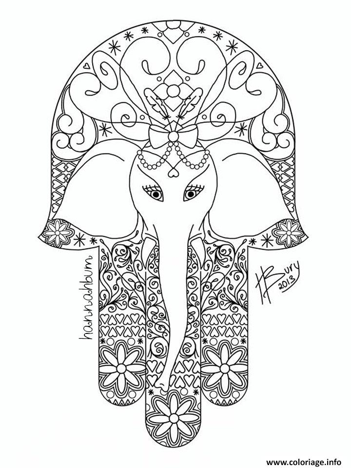 Dessin adulte elephant hamsa Coloriage Gratuit à Imprimer