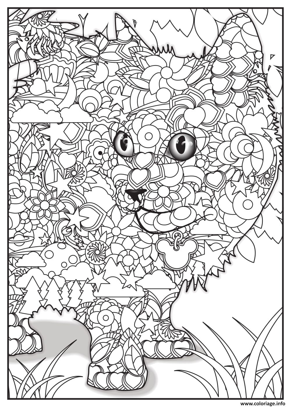 Coloriage chat adulte animaux dessin - Jeux de coloriage de chat ...