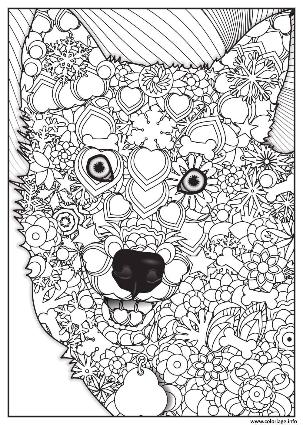 Coloriage Loup Wolf Adulte Animaux Dessin