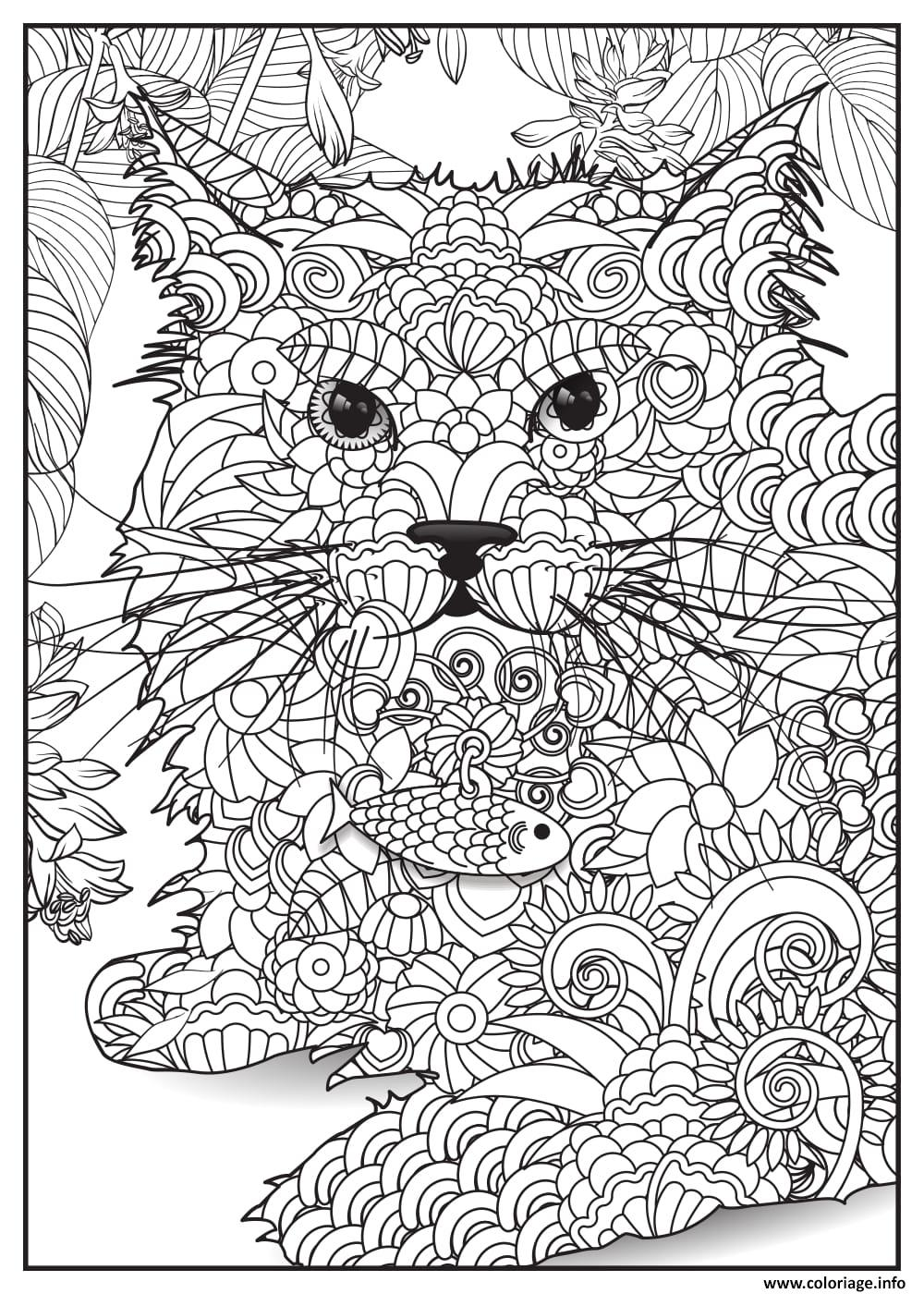 Coloriage chat lynx adulte animaux dessin - Chat a colorier adulte ...