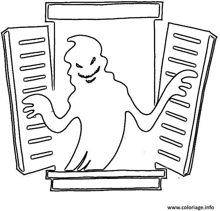 Coloriage Fantome Qui Sort De La Fenetre Halloween Dessin Halloween Fantome A Imprimer