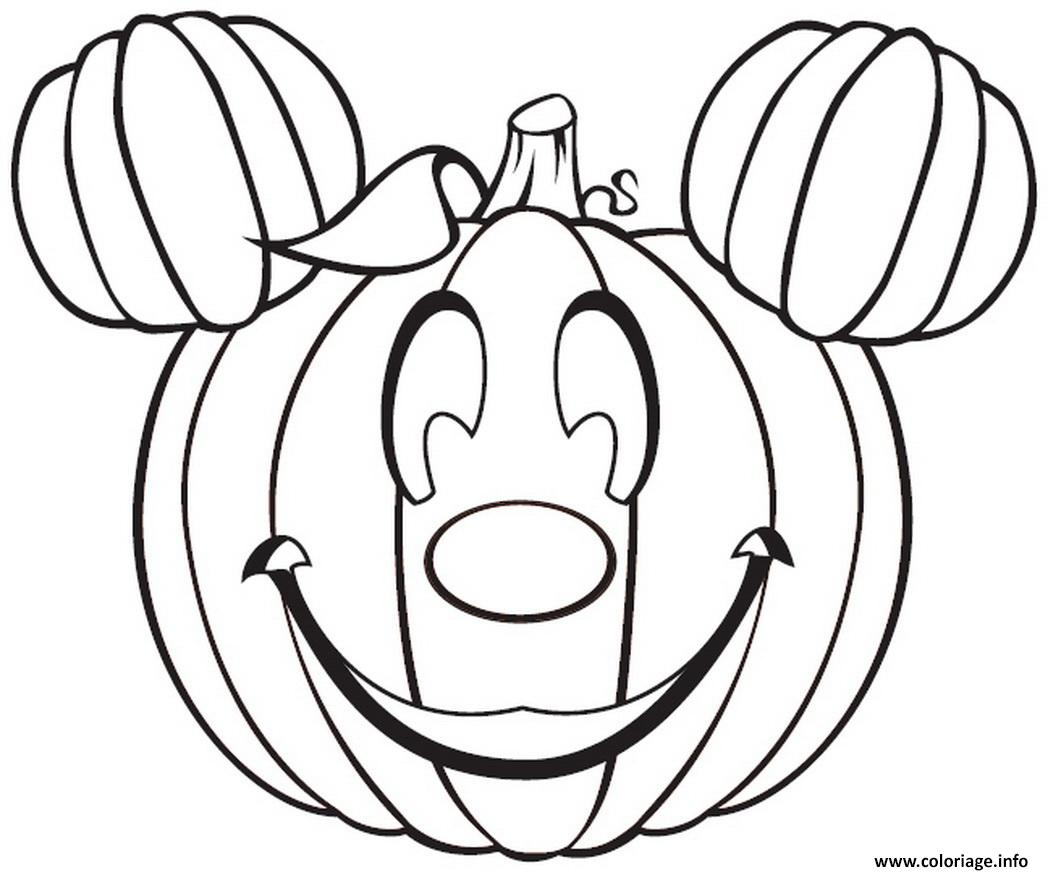 disney mickey mouse citrouille halloween coloriage