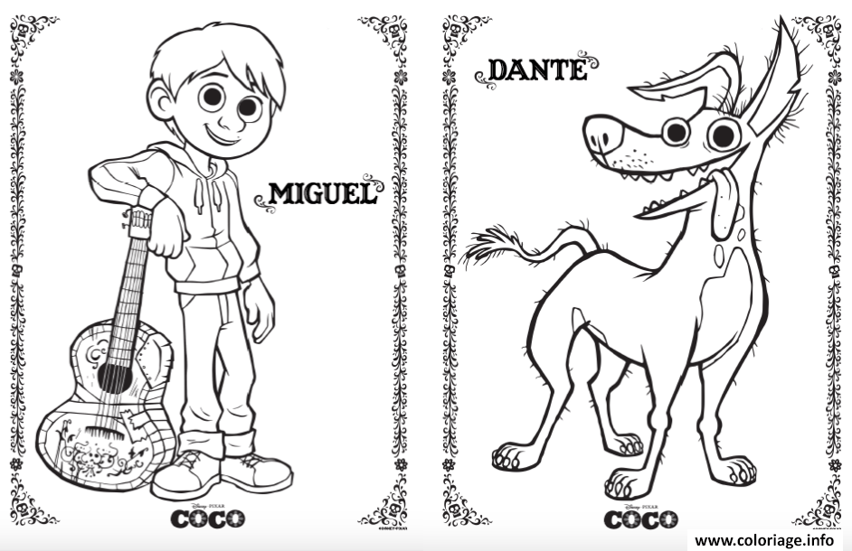Miguel Coco Para Colorear: Coloriage Miguel Dante Coco Disney Pixars Dessin