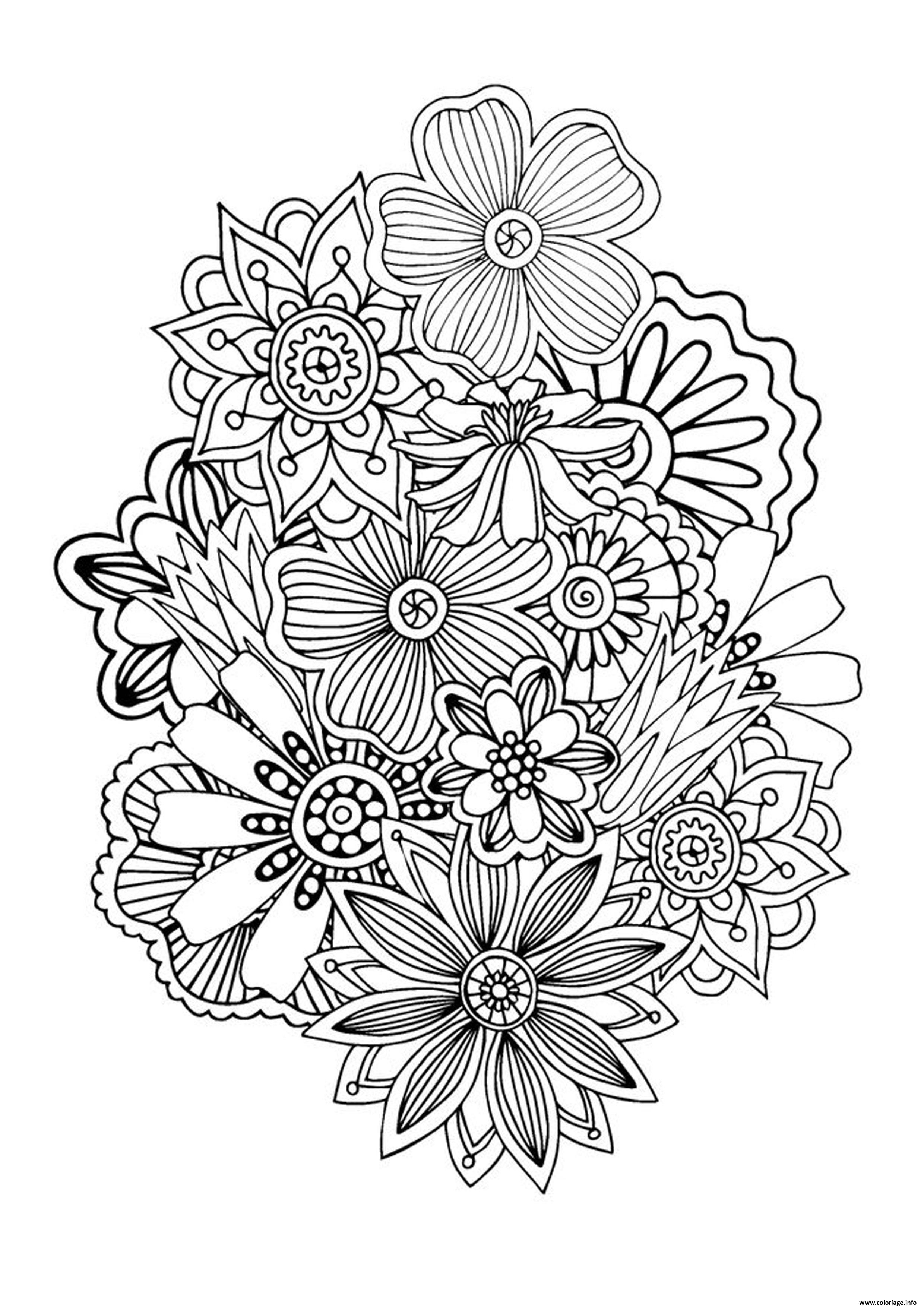 Dessin zen antistress abstract pattern flowers by juliasnegireva Coloriage Gratuit à Imprimer