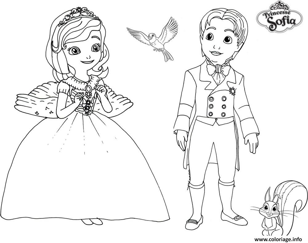 Coloriage De Prince Et Princesse A Imprimer.Coloriage Princesse Sofia Et Prince James Dessin