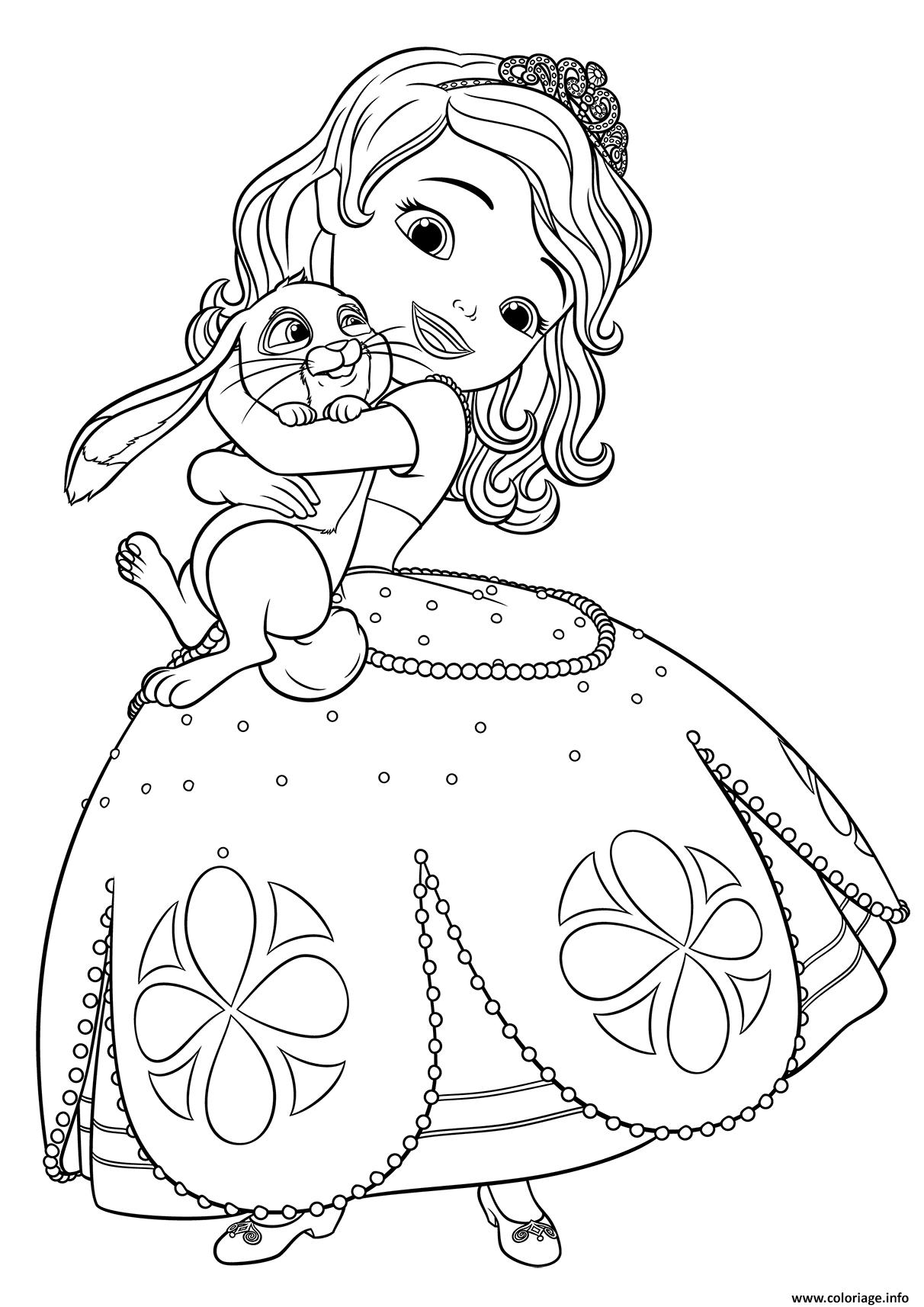 Coloriage Princesse Sofia Adore Son Lapin Jecolorie Com