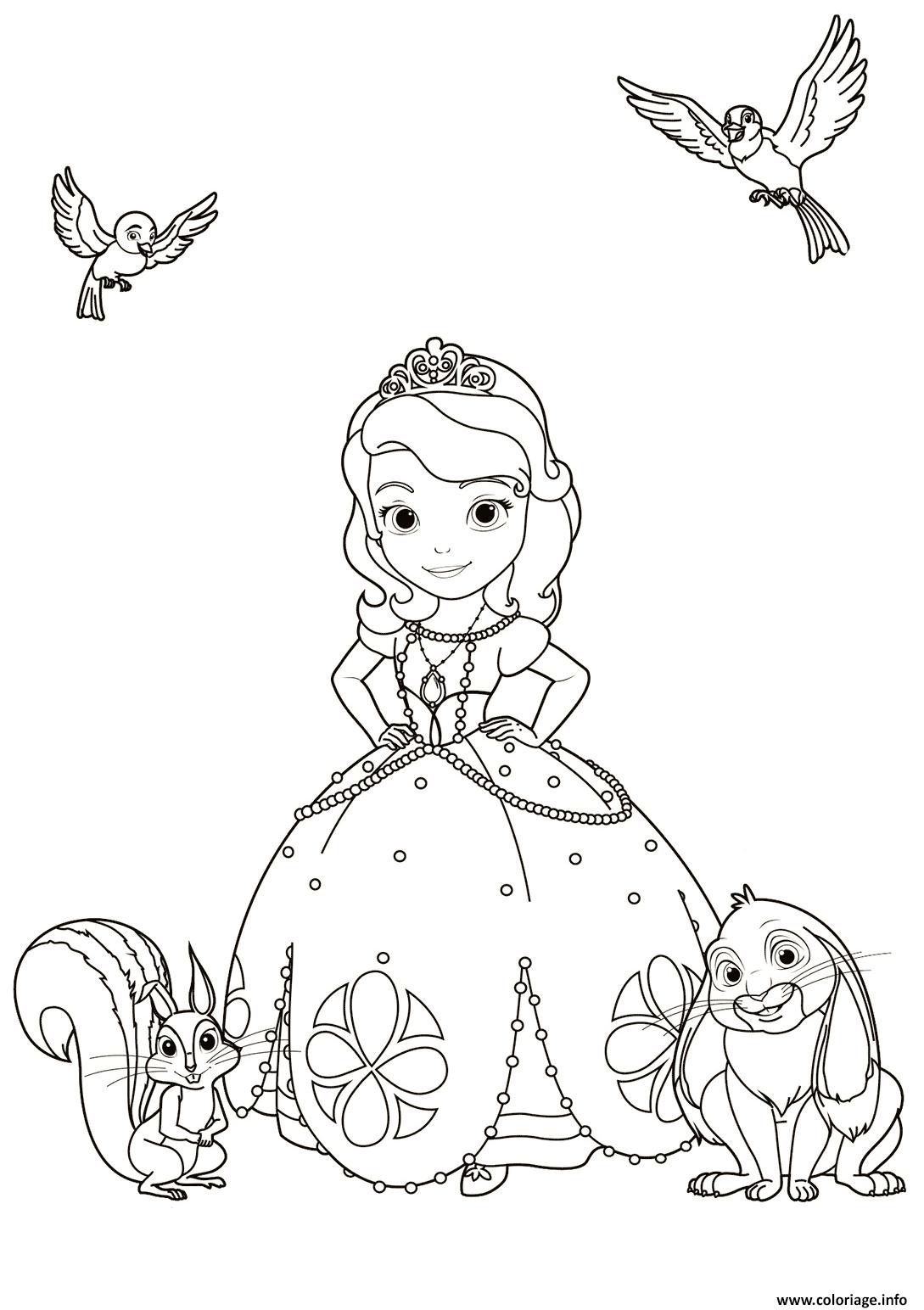Dessin princesse sofia avec les animaux Coloriage Gratuit à Imprimer
