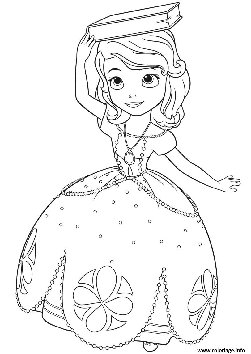 Dessin princesse sofia avec un livre sur sa tete Coloriage Gratuit à Imprimer