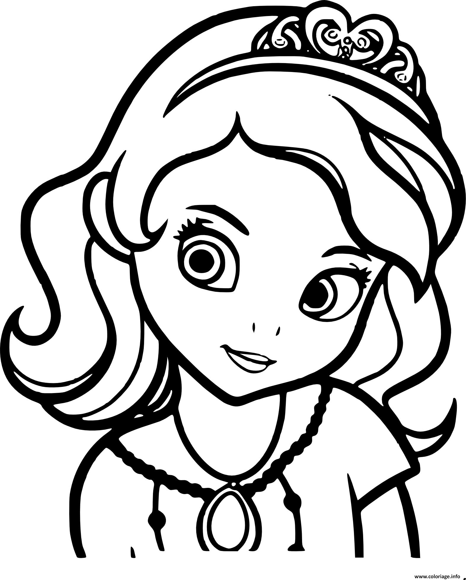 Coloriage princesse sofia de face portrait visage - Princesse dessin ...