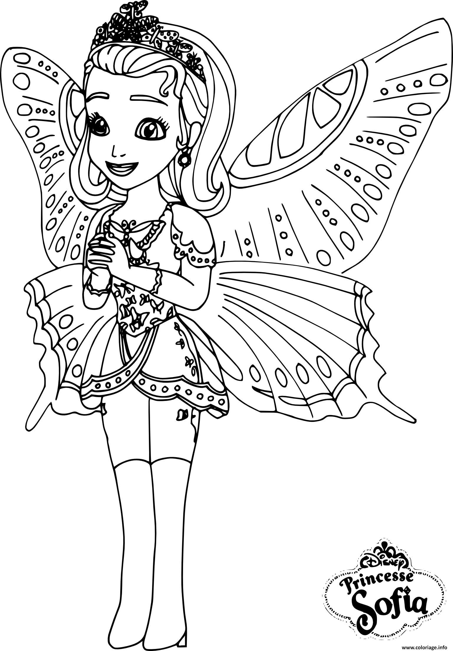 Coloriage Gratuit Princesse Sofia.Coloriage Princesse Sofia Papillon Jecolorie Com