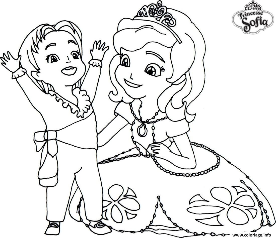 Dessin princesse sofia disney avec un enfant Coloriage Gratuit à Imprimer