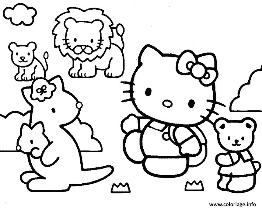 Coloriage Hello Kitty Animaux Mignon Jecolorie Com