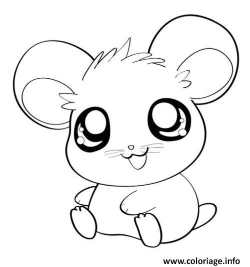 Coloriage Hamster Kawaii.Coloriage Hamster Cute Mignon Animaux Dessin