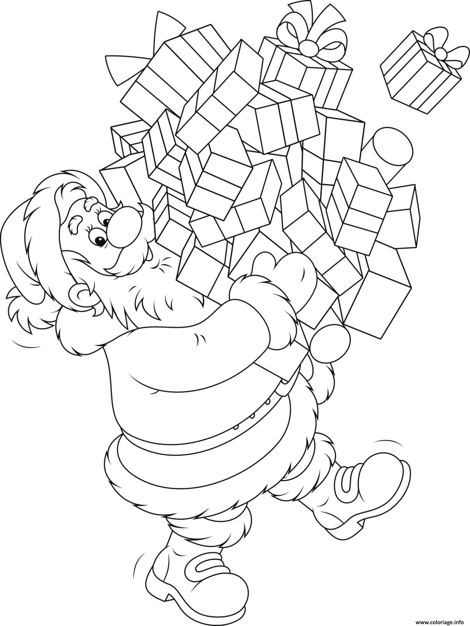 pere noel avec pleins de cadeaux de noel coloriage