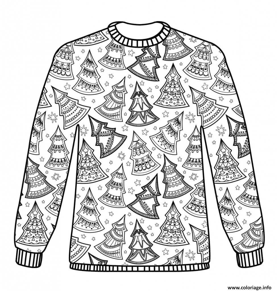 Coloriage Christmas Sweater Adulte Noel Jecolorie Com