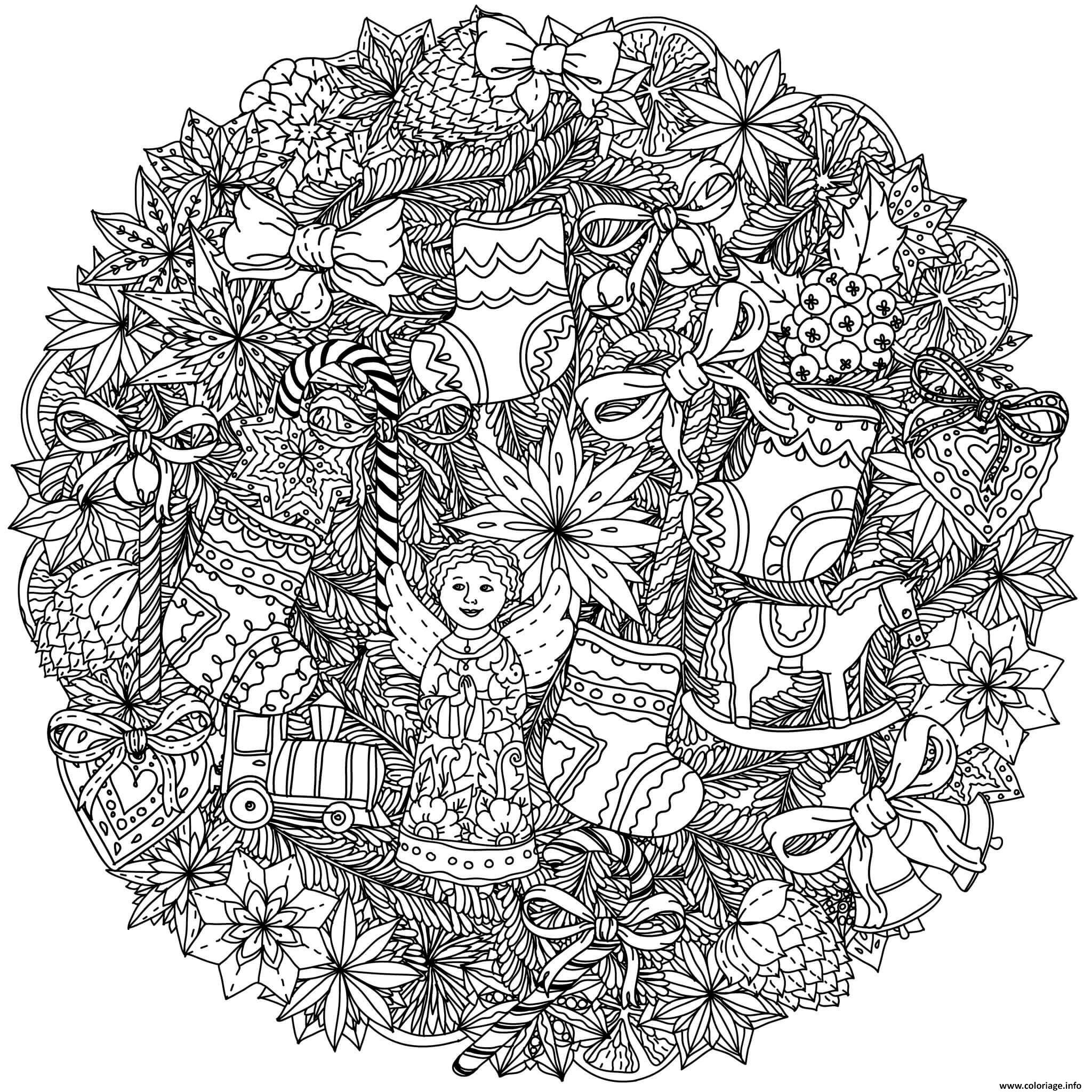 Coloriage Adulte Mandala Noel Complexe Dessin
