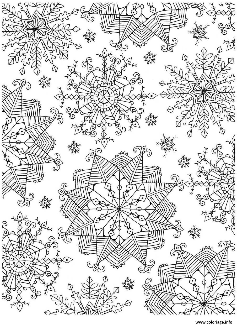 Coloriage flocon de neige adulte noel zentangle - Dessin paysage de noel ...