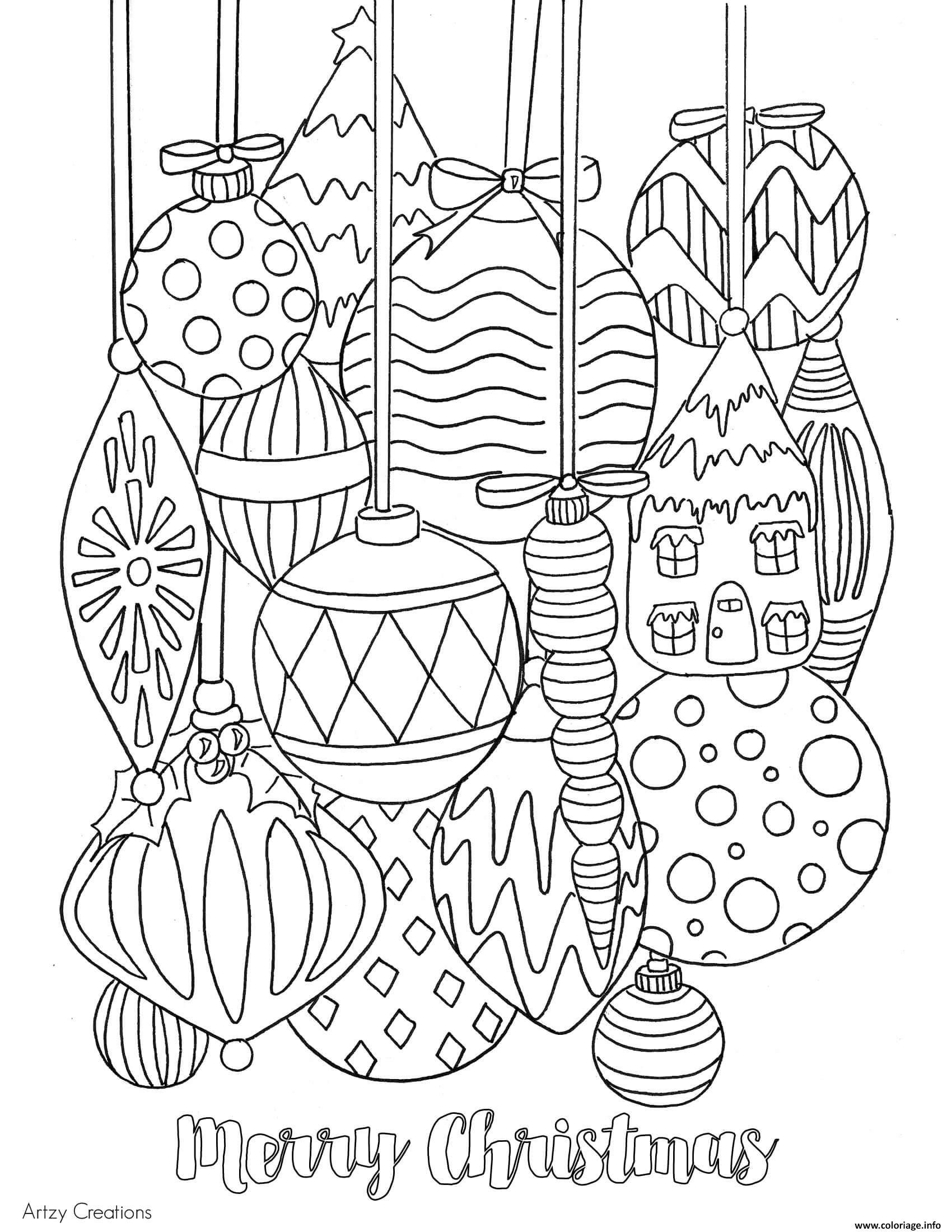 Impressionnant Dessin à Imprimer Boule De Noel